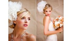 Monique Lhuillier wedding dress of blush embroidered lace , necklace and floral hair accessories by Erin Cole Couture, orchid and hydrangea bridal bouquet by Kathy Wright & Co., images by La Vie Photography