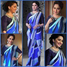 Madhuri Dixit in shades of #blue  #saree #fashion #bollywood #MadhuriDixit