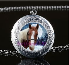 White Horse Photo Cabochon Glass Tibet Silver Chain Locket Pendant Necklace #Handmade #Locket