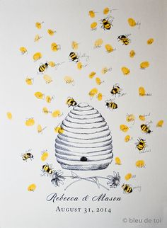 Honey Bee Hive with thumbprint bees Guest book by bleudetoi, $26.00