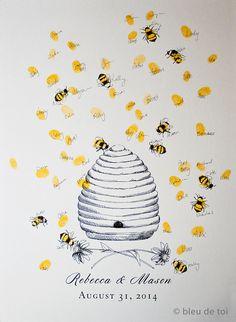 Honey Bee Hive mit Fingerabdruck Bienen, Guest Book Fingerabdruck alternative Art (mit 1 Stempelkissen)