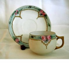 Items similar to Antique German Gilded Hand-Painted China Demitasse Cups and Saucers on Etsy