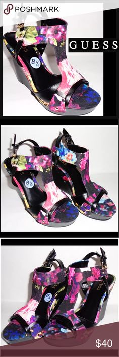 "GUESS 8 1/2 4.5"" High Heel Wedge Black Floral Shoe Product: GUESS Wedge Heels      Condition: New without box    Size: 8.5    Color: Multi Color    Product Detail:   Floral design    4 1/2"" Heel    Adjustable heel strap    Open toe Guess Shoes Wedges"