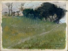 cinoh - Edgar Degas, Landscape with Path Leading to a Copse of Trees (ca. 1890-92, pastel over monotype in thinned oil paint)