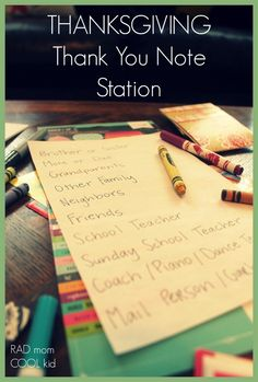 Thank You Note Station, perfect to teach your kids about gratitude and keep them busy during dinner preparations!