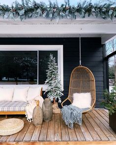 HOME TOUR – Our winter / christmas front porch- undecorated home - All For Garden Porch Chairs, Outdoor Chairs, Side Chairs, Deck Design, House Design, Chair Design, Outdoor Spaces, Outdoor Living, House Front Porch