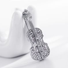 $1.40-- Women pins Personality brooches Crystal Rhinestones Violin Brooches Pin Jewelry Accessories brooch