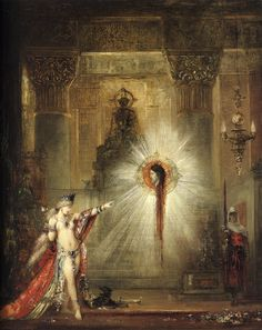 "Gustave Moreau (1826-1898) The Apparition Oil on canvas -1877 54.2 x 44.5 cm (21.34"" x 17.52"") Fogg Art Museum, Harvard University (Cambridge, Massachussetts, United States)"