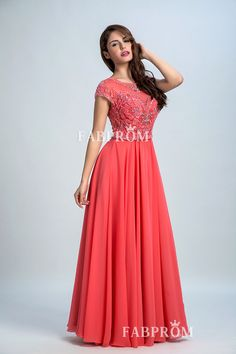 Beaded Embroidered Watermelon Chiffon Modest Short Sleeve Jewel Neck Prom Dress