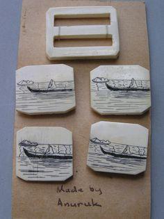 ButtonArtMuseum.com - Vintage Alaskan Eskimo Scrimshaw U S I D Anuruk Original Card 4 Buttons Buckle
