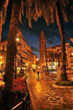 Valencia, Spain. This is the Ayuntamiento or La Plaza de la Reina
