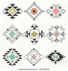 Ethnic collection symbol, Navajo elements for design. Vector set with tribal, Indian, elements. Native American Patterns, Native American Symbols, Native American Design, Indian Patterns, Tribal Patterns, Quilt Patterns, Hand Kunst, Southwestern Quilts, Motifs Aztèques
