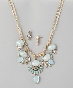 Another great find on #zulily! Blue Starlight Bib Necklace & Earrings by Jasper #zulilyfinds