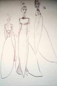 1964 A few design sketches by Cristobal Balenciaga