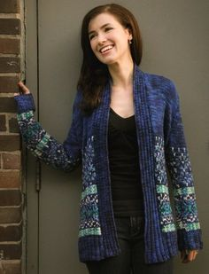 Northern Lights Cardigan - would do in other colors and maybe a fuzzier yarn just for the details.