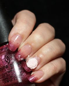 I'm A Nail Art Addict!: Pink Glitter Gradient French Tips and Acrylic Flower ✿