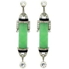 Art Deco Diamond, Jade And Onyx Earrings  c. 1925