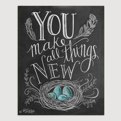 Spring Print - Birds Nest - Robins Egg Blue Decor -  You Make All Things New - Feather Illustration - Scripture Art