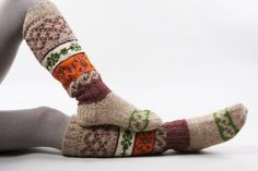 Knee high knitted socks with Scandinavian ornaments for von RGideas, $74.00