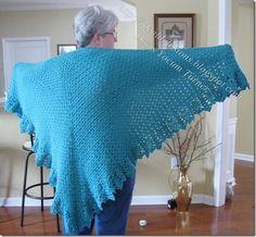 Simple Box Stitch Shawl, free pattern.  Pretty edging is from Doris Chan's 'All Shawl' (link included with instructions).  . . .  ღTrish W ~ http://www.pinterest.com/trishw/  . . .   #crochet #wrap