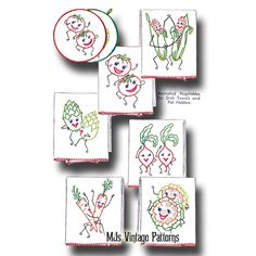 Vintage Dancing Vegetables Anthropomorphic Embroidery Pattern