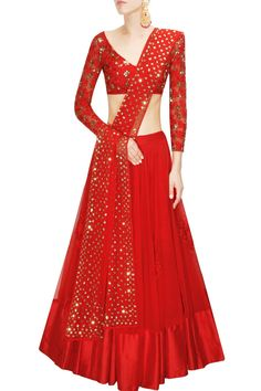 ASTHA NARANG Red embroidered lehenga set available only at Pernia's Pop Up Shop.