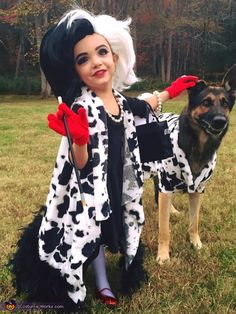 Cruella de Vil and her Terrified Dalmatian - Halloween Costume Contest via @costume_works