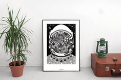 Hey, I found this really awesome Etsy listing at https://www.etsy.com/listing/564789480/astronaut-original-illustration-space