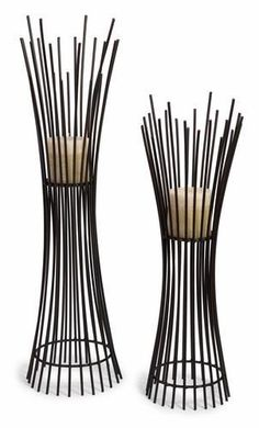 Metal Candleholder Duo - Set of of Two Matching Iron Contemporary Candle holders with Dramatic Vertical Lines From Floor to BaseDimensions: x