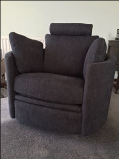 Curved Armed Recliner Cum Rocker Cum Swivel Chair   In J Brown Senna    Granite Fabric