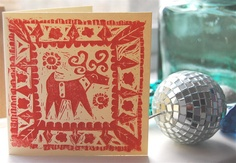 Hand printed christmas cards x 4 designs by myartcreations on Etsy, £6.50