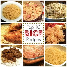 10 Tried & True Rice Recipes: Chicken & Sausage Dirty Rice, Stewed Beef & Rice, Pork Chop & Rice Casserole, Chicken Pilau, Roasted Chicken & Greasy Rice, Greasy Rice, Perfect White Rice, Rice Pilaf, Mexican Rice and Brown Rice!