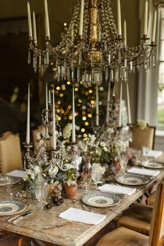 The ballroom table dressed for Christmas lunch