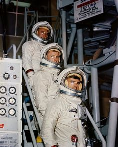 """Apollo 1: Astronauts Virgil """"Gus"""" I. Grissom, Edward H. White II, and Roger B. Chaffee were to pilot the first manned Apollo mission. Tragically, during launch pad testing, a fire would asphyxiate the team. The mission was originally designated the Apollo 204, but was renamed Apollo 1 in their recognition."""