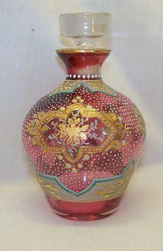 Old Enameled Floral Designed Cranberry Art Glass Perfume Scent Bottle w Stopper .