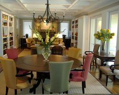 Open Dining Room, Round Dining Table, Colorful Upholstered, Dining Chairs, Coffered Ceiling, Built-in Bookcases, Iron Chandelier -- Desgined by Pulliam Morris Interiors