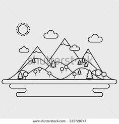 Landscape. Isolated nature landscape with mountains, hills. river and trees on background. Summer landscape. Flat line style vector illustration.