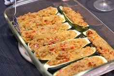 Zucchine ripiene di riso e tonno al forno