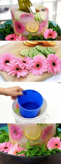 How to Make Your Own Frozen Fruit and Floral Ice Bucket How cool is this! A floral ice bucket or centerpiece with fresh flowers and fruit for your next baby or bridal shower! You'll seriously wow all your guests. Frozen Fruit, Fruit Ice, Fresh Fruit, Festa Party, Deco Floral, Floral Style, Luau, Holiday Parties, Summer Parties