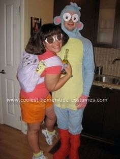 Homemade Dora and Boots Couple Costume: I decided to dress as Dora the Explorer for Halloween because I've always said I looked just like her when I was a kid. My boyfriend then jumped on the