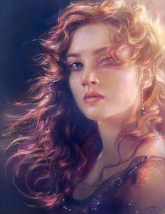 Kate Winslet as Rose DeWitt Bukater in Titanic Titanic Art, Titanic Movie, Fantasy Art Women, Fantasy Girl, Digital Portrait, Portrait Art, Digital Art, Melanie Delon, Foto Art