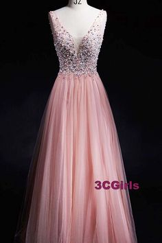 Beaded pink tulle prom dress,ball gown,long prom dress for teens
