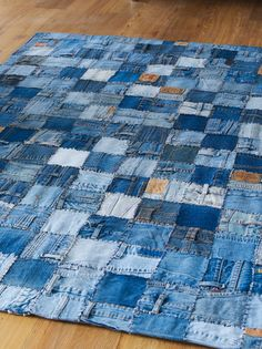 Think Rugs Denim Patchwork Hand Sewn Rug, Blue, 150 x 230 Cm