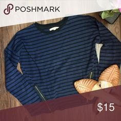 Zara Striped Zipper Detailed Long Sleeve Navy and black striped Zara long sleeve. Has slanted zippers at the bottom. Bought at zara in Hungary so not sure if they even sell this in the US. Excellent condition. Zara Tops Tees - Long Sleeve