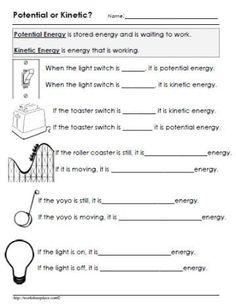 Potential or Kinetic Energy Worksheet