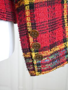 American Vintage Plaid Blazer, Red Yellow Black Turquoise Tartan Equestrian-Style 1980s Dallas Jacket: Size 8 US, Size 12 UK by YouLookAmazing on Etsy