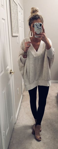 Oversized sweatshirt, leggings, nude peep toe booties