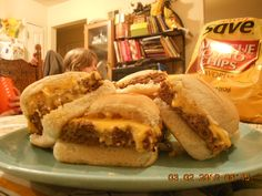 White Castle (taste exactly like them only a little bigger & better)  1 1/2 lbs hamburger, 1 Tbsp Peanut butter (yes I said it), 1/2 cup milk  1 pkg of Lipton onion soup mix, spread evenly in sheet cake pan, bake @ 350 for 10 min (it shrinks) drain grease, take 1 chopped onion place around meat bake for 15 min, top w/ or w/o onions, cheese, & top bun, bake for 5 min, cut & place on bottom bun.  I tripled it & made 24  burgers.  A neighbor from St. Louis said they were better than white…