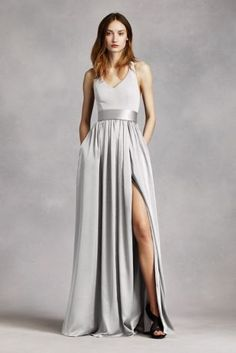 V Neck Halter Gown with Sash VW360214