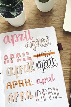Best April Bullet Journal Header Ideas For 2020 - Crazy Laura If you need help starting out your spreads and layouts for the month, then check out these super cute bullet journal april headers for inspriation! April Bullet Journal, Bullet Journal Headers, Bullet Journal Banner, Bullet Journal Lettering Ideas, Bullet Journal Notebook, Bullet Journal School, Bullet Journal Spread, Bullet Journal Ideas Pages, Bullet Journal Inspiration